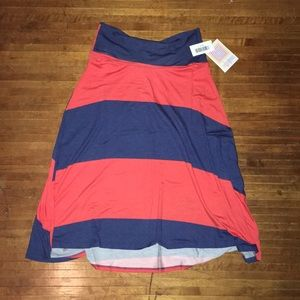 Navy & red striped S Lularoe Azure skirt